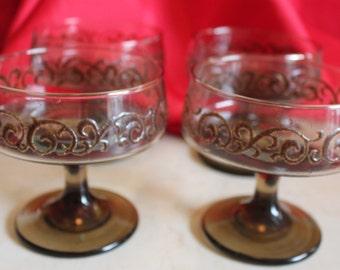 A Set of 4 Prado Libbey/Rock Sharpe Champagne/Tall Sherbet Stemware -  Brown Scrolls on Tawny Brown