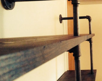 Wood and Steel Pipe Shelf or Bookshelf