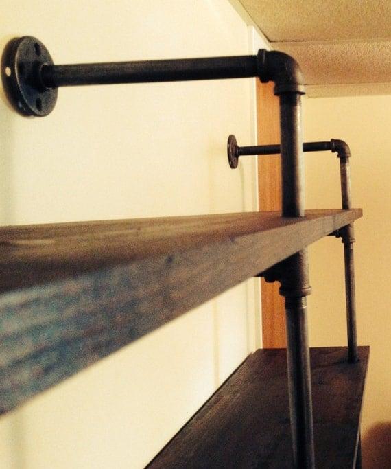 wood and steel pipe shelf or bookshelf. Black Bedroom Furniture Sets. Home Design Ideas