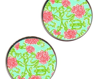 Alpha Chi Omega Licensed Earrings inspired by Lilly Pulitzer