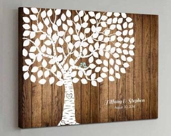 CANVAS Wedding Guest Book Wood - 125 Guest - Wedding Tree Wedding Guestbook Canvas Alternative Guestbook Canvas Wedding Guestbook - Wood