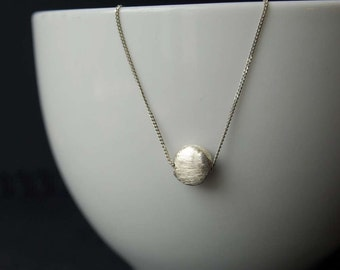 Brushed Sterling Silver Puffy Dot Pendant, Sterling Silver Pendant, Sterling Silver Brushed Dot Necklace