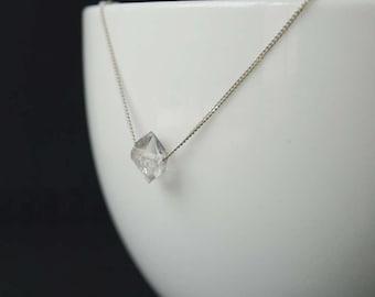 Herkimer Diamond Necklace, Herkimer Diamond Solitaire Sterling Silver Necklace, Sterling Silver Quartz Crystal Necklace