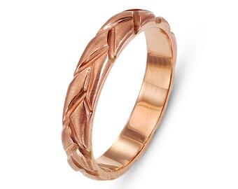 Braided 14k Rose Gold Wedding Ring, Rose Gold Wedding ring, Romantic Wedding Ring, Bohemian Chic Wedding Ring, 14k Rose Gold Wedding Band.