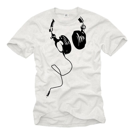 cool music t shirt for men with headphones print white black s xxxl. Black Bedroom Furniture Sets. Home Design Ideas