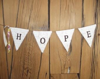 Burlap Hope Banner/bunting