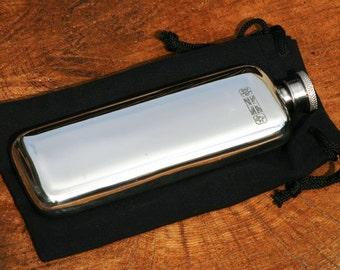 Ladies English Pewter Narrow Hip Flask Personalised Gift