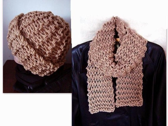 Knitting Patterns Scarf And Hat Set : KNITTING pattern Hat and Scarf set Unisex accessories