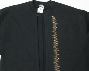 Sweatshirt jacket with swarovski crystals-women's size