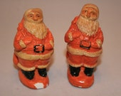 Vintage 1900s Orange/Cream Santa Claus Salt & Pepper Shakers ~ Santa Carrying Sack ~ Very Old and Rare ~ Christmas Kitchen Decoration