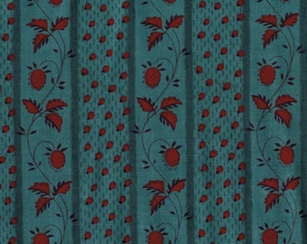 BY THE YARD Blue and Red Floral Stripe Roller Print Fabric Reproduction Historical Quilting Cotton Doll Clothes 19th Century ca. 1840s