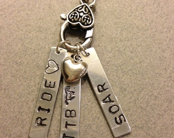 OTTB Stamped Pendant Necklace, 3 Hand Stamped Pendants, Heart Charm - Can be customized