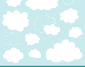 Premium Fluffy Clouds Clipart for Digital Scrapbooks, Crafting, Invitations, Web - Fluffy Clouds, White Clouds, Vector Clouds