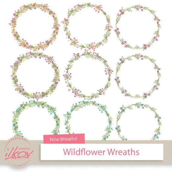 Premium Digital Wildflower Frames Floral Wreath Clip Art - Create Your Own Wall Stickers