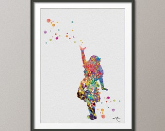Alice in Wonderland Watercolor Print  8x10 Archival Fine Art Print - Children's Wall Art - Wall Decor Art Home Decor Wall Hanging No 2