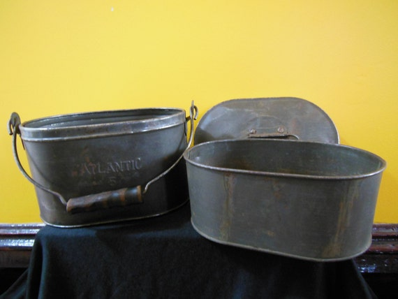 Antique atlantic brand 3 piece metal coal miner 39 s lunch for Decor 6 piece lunchbox