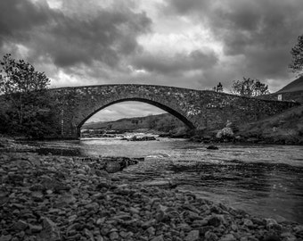 Architecture Bridge Art Black and White Scotland Rural Creek Stream Fine Art Photography Vintage Home Decor Living Room Decor Bathroom Decor