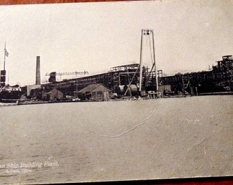 POSTCARD Early 1900's American Ship Building Plant OHIO