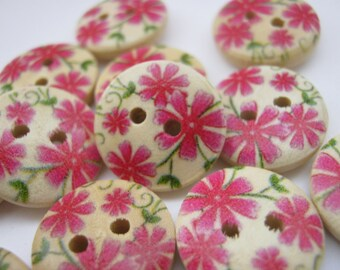 "10 Red Flowers Buttons 15mm (5/8"") Wooden Floral Sewing Buttons Clothing Accessories Buttoncrafts"