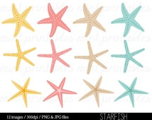 Starfish Clipart Clip Art, Summer Holiday Clipart, Beach, Seaside, Nautical, Ocean, Tropical - Commercial & Personal - BUY 2 GET 1 FREE!
