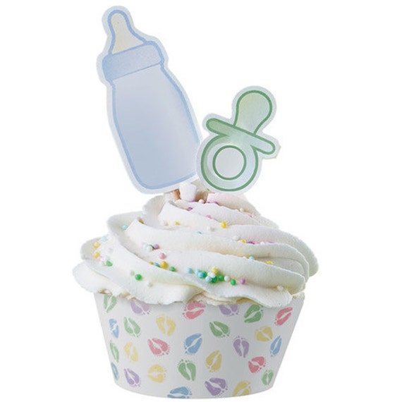 Baby feet cupcake wraps 39 n pix wrappers toppers wilton - Wilton baby shower cake toppers ...