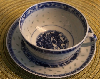 Vintage Asian Teacup and Saucer