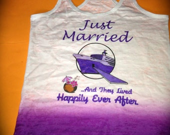 Just Married Ombre Shirt. Just Married Tank Top. Bride to be gift. Happily Ever After Shirt. Wedding shower gift. Purple Bride Tank Top