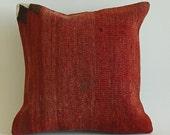 "Vintage Turkish Kilim Pillow 16"" x 16"" (40 x 40 cm) Decorative Throw Pillow"
