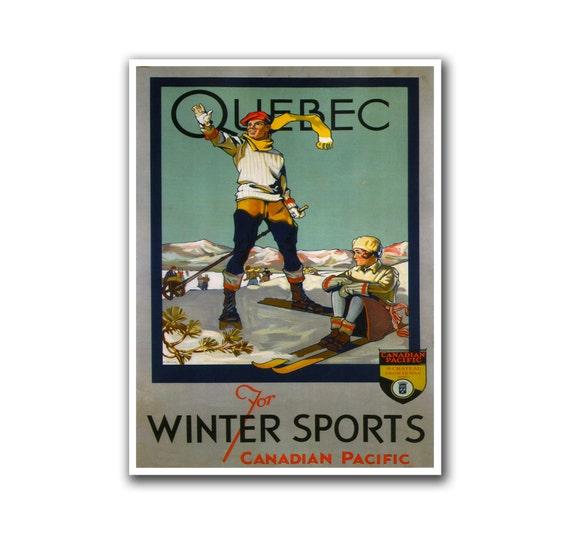 Retro Travel Poster Art Quebec Canada Sports Home Decor