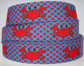 """1.5"""" Beachy Red Crab Grosgrain Ribbon by the Yard for Hairbows, Scrapbooking, and More!!"""