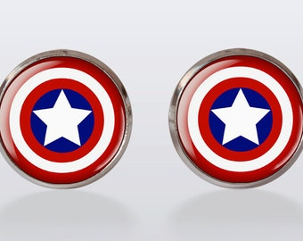 Captain america Shield Cufflinks, Cuff Link, Gifts for men, Wedding, Siver Plated, Jewelry