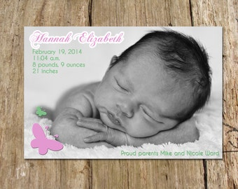 Butterfly Birth Announcement, Digital Printable File
