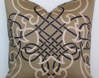 Bronze Scroll Decorative Pillow Cover, 20x20