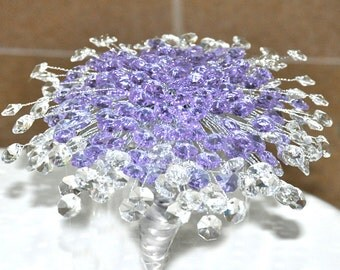 Crystal wedding bouquet purple and clear crystal stones