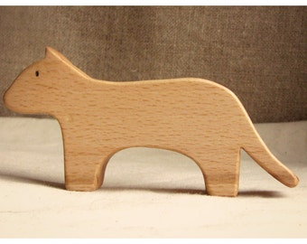 Waldorf inspired wooden animals: a feline