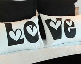 Pillow Cases: LOVE Pillowcase Set for Couples, Matching Pillow Cases, Pillow Cases, Pillow Case Design