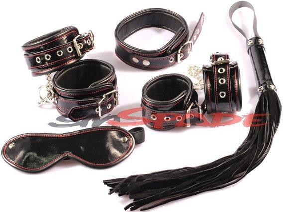 mature 5 pcs real leather bondage restraint by spadeonline2014