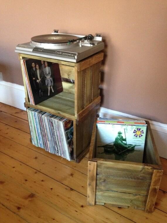 Vinyl record lp empilable caisse en bois pour grand rangement for Meuble 45x45
