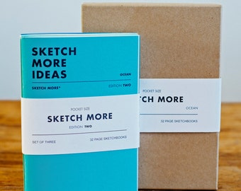 A6 Sketchbook / Notebook Set of Three, handmade in England. Edition Two - Ocean