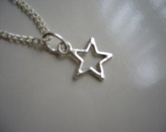 Star Necklace - Antique Silver Star Necklace - Star Pendant Charm Necklace- Miniature Star- Nickel Free