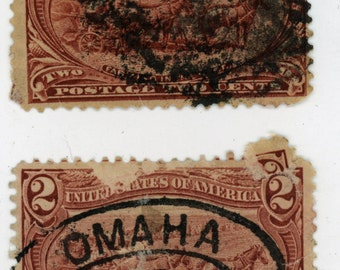 114 year old, 2, U.S. Stamps, Date, 1900, Scott # 286, Farming the West,  Used,   Good to Very Good Condition.   562a
