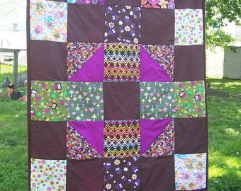 "Fairy Forest Owl Quilt for Baby - Groovy Fairy Forest Animal Owl Patchwork Quilt - Crib 42"" x 58"""