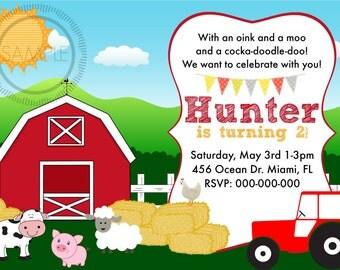Farm / Barnyard / Barn / Animal Birthday Party Invitation