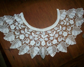 Ayreshire white work finely done collar 1800s heirloom hand done
