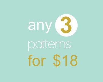 Buy any 3 sewing patterns for 18!