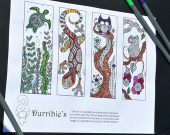 Animal Bookmark Set 1 Coloring Page DOWNLOAD