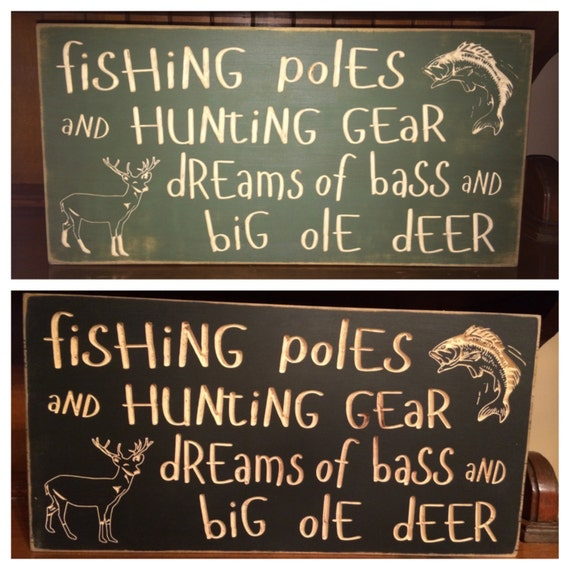 Custom Carved Wooden Sign Fishing Poles And Hunting