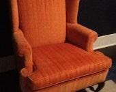 Vintage Ethan Allen velvet chair- pumpkin
