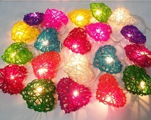 valentine romantic sweet heart fancy mix color string lights 20 rattan party patio fairy decor wedding