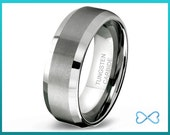 Tungsten Wedding Bands,Mens Ring,Mens Wedding Bands,Tungsten Ring,Rings,Beveled Edge,8mm,FREE Engraving,Mans,Anniversary,His Hers,Set,Size